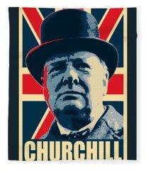Winston Churchill Propaganda Fleece Blanket