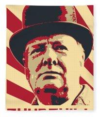 Winston Churchill Propaganda Pop Art Fleece Blanket