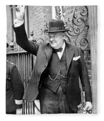 Winston Churchill Showing The V Sign Fleece Blanket