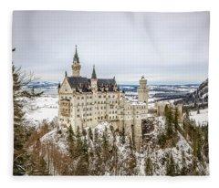 Winter At Neuschwanstein Castle Fleece Blanket