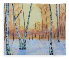 Winter Birches-cardinal Left Fleece Blanket