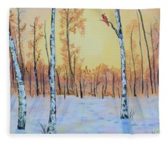 Winter Birches-cardinal Right Fleece Blanket