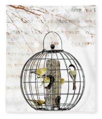 Fleece Blanket featuring the photograph Winter Bird Feeder  by Andrea Kollo