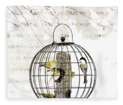 Winter Bird Feeder  Fleece Blanket