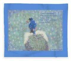 Winter Blue Bird Fleece Blanket