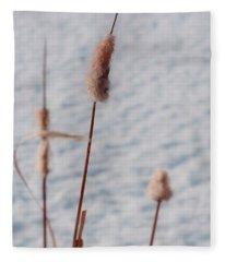 Winter Cat Tails Fleece Blanket