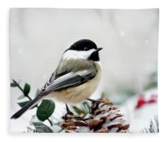 Fleece Blanket featuring the photograph Winter Chickadee by Christina Rollo