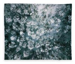 Winter Forest - Aerial Photography Fleece Blanket