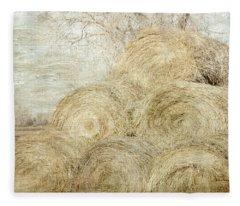 Winter Hay Stack Fleece Blanket