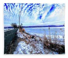 Winter Hudson River Causeway Fleece Blanket