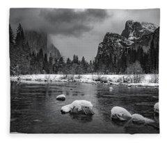 Winter Morning In Yosemite Fleece Blanket