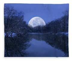 Winter Night On The Pond Fleece Blanket