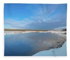 Winter On The Sucker River Fleece Blanket