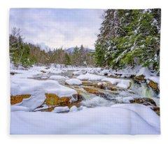 Winter On The Swift River. Fleece Blanket