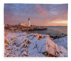 Winter Sunrise At Portland Head Light Fleece Blanket