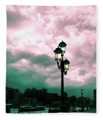 Winter Venice Lantern On The Embankment Fleece Blanket