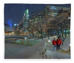 Winter Walk - Gene Leahy Mall - Omaha Fleece Blanket