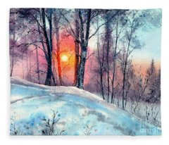Winter Woodland In The Sun Fleece Blanket