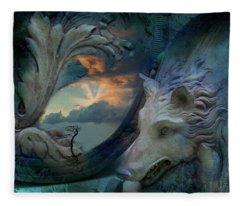Wolf At The Window Fleece Blanket