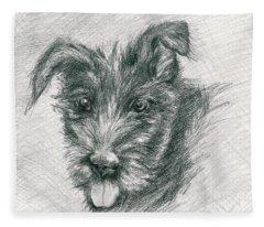 Wolfhound Puppy Sketch Fleece Blanket