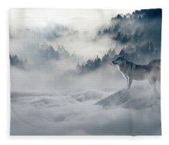 Wolfs In The Snow Fleece Blanket
