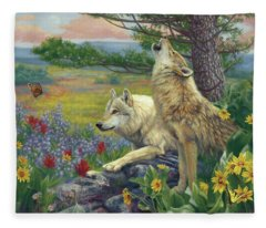 Wolves In The Spring Fleece Blanket