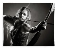 Woman Archer Aiming Arrow Fleece Blanket