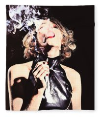 Woman Smoking A Cigarette Fleece Blanket
