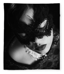 Woman With Elegant Mask Fleece Blanket