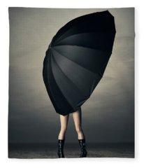 Woman With Huge Umbrella Fleece Blanket