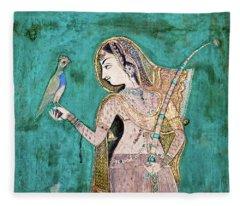 Woman With Parrot Fleece Blanket