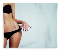 Woman With Perfect Figure And Skin.  Fleece Blanket