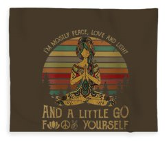 Womens I'm Mostly Peace Love And Light And Little Go Fuck Yourself V-neck T-shirt Fleece Blanket