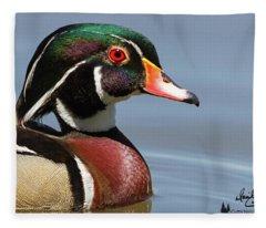 Wood Duck Portrait Fleece Blanket