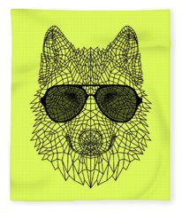 Woolf In Black Glasses Fleece Blanket