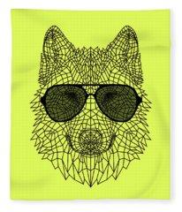 Woolf In Black Glasses Fleece Blanket