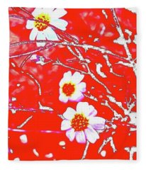 Fleece Blanket featuring the photograph Woolly Daisy Silvered by Judy Kennedy