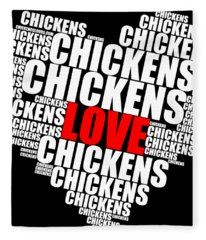Word Cloud White Love Chickens Fleece Blanket