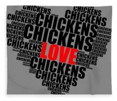 Wordcloud Love Chickens Black Fleece Blanket