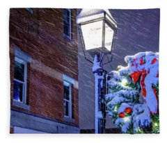 Wreath On A Lamp Post Fleece Blanket