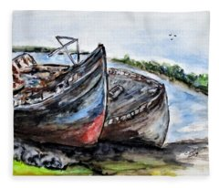 Wrecked River Boats Fleece Blanket