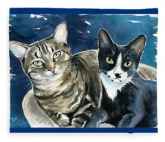 Xani And Zach Cat Painting Fleece Blanket