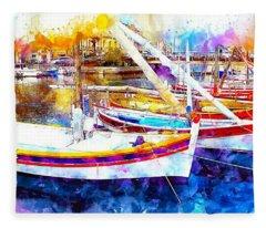 Yacht Harbor Fleece Blanket