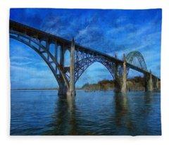 Yaquina Bay Bridge From South Beach Fleece Blanket