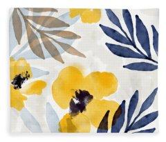 Yellow And Navy 3- Floral Art By Linda Woods Fleece Blanket