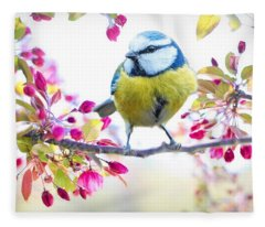Yellow Blue Bird With Flowers Fleece Blanket