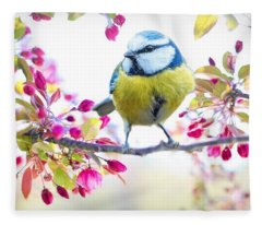 Yellow Blue Bird With Flowers Fleece Blanket