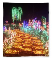 Yellow Brick Road Flower Christmas Lights At Night Fleece Blanket