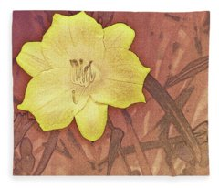 Yellow Day Lily Stencil On Sandstone Fleece Blanket