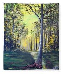 Yellow Forrest Fleece Blanket